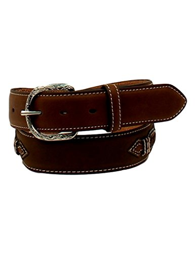 Nocona Men's Top Hand Rawhide Accents Contrast Lacing Belt, Medium Brown Distressed, 32