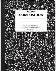 Flomo Black Marble Composition Books - 100 Sheets Wide Ruled