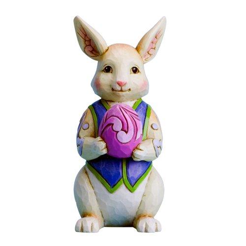 Enesco Jim Shore Heartwood Creek Mini Bunny with Egg Figurine, 3.75-Inch
