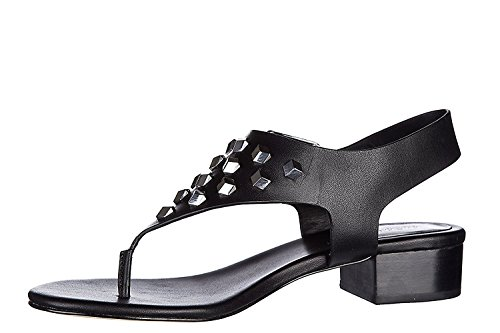 Michael Thongs Leather Kors (MICHAEL Michael Kors Womens Valencia Thong Leather Open Toe, Black, Size 6.0)