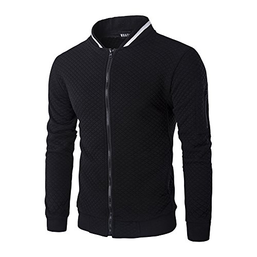 SHDAS Men's Slim Fit Zip Up Square Pattern Quilted Bomber Jacket (Jacket Quilted Sweater)