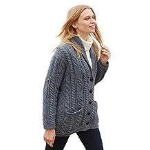 Multi Wool Cable Knit Irish Shawl Cardigan