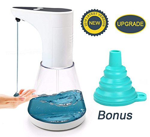 High Capacity Automatic Soap Dispenser, Touch-Free Motion Sensor Liquid Dish Soap dispenser Transparent ABS Soap Dispenser for Kitchen Bathroom, with Free Silicone Foldable Funnel, 520ml. / 17.8oz.