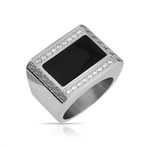 Bling Jewelry Mens Geometric Greek Key Engravable Black Rectangle Signet Ring for Men Silver Tone Stainless Steel