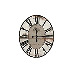 Creative Co-op Distressed Wood Wall Clock, 29 Oval, Light Grey
