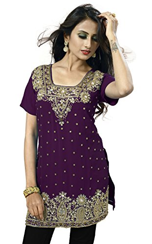 Studded Tunic Dress - IndianAttire Magenta Violet Women's Handwork Kameez Suit Dress Kurti Kurta Tunic Top SZ-36