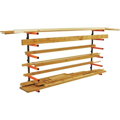 Lumber Storage Rack Portamate PBR-001. Six-Level Wall Mount Wood Organizer Rack that Holds Up to 100 lbs. per Level. Ideal for both Indoor and Outdoor Use.
