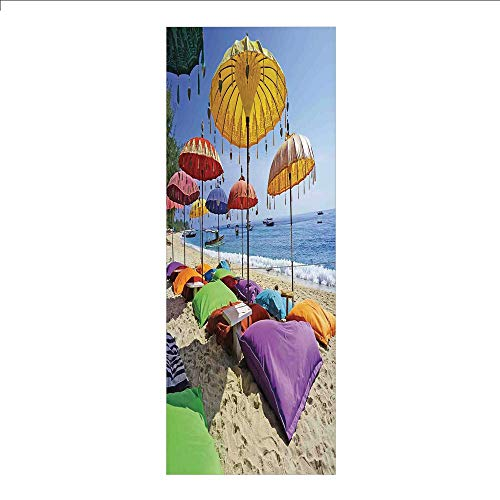 - 3D Decorative Film Privacy Window Film No Glue,Balinese Decor,Pristine Beach Bathed by The Bali Sandy Seashore Daytime Umbrellas Pillows Leisure,for Home&Office
