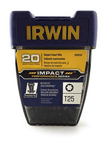 (IRWIN 1899946 Impact Performance Series Screwdriver Insert Bit, T25 Torx, 1-Inch, 20-Pack)