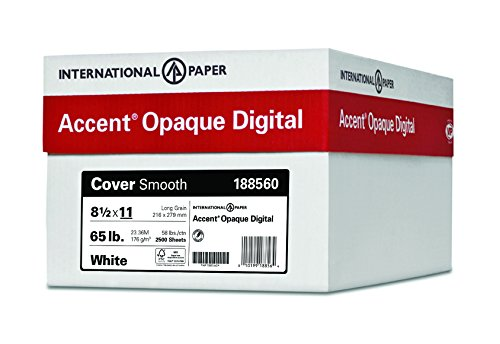 10 Fine Laser Paper - Accent Opaque, Smooth Cover White, 65lb, Letter, 8.5 x 11, 97 Bright, 2,500 Sheets / 10 Ream Case, (188560C) Made in The USA