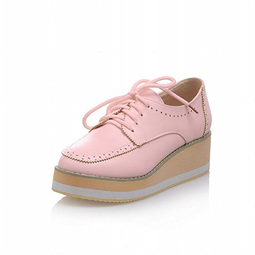 Latasa Damesmode All-over Kant-up Plateau Mid Sleehak Oxfords Schoenen Roze