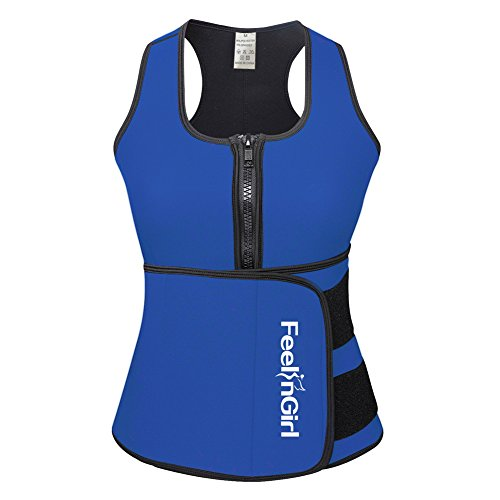 (Feelinril Women's Latex Overbust Corset Waist Training Cincher XL Blue)