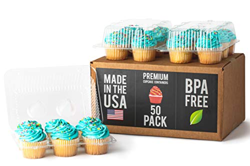 Royalux Cupcake Containers Plastic Disposable (50-Pack) - BPA Free Cupcake Boxes 6 Cavity - USA Made Cupcake Holder Carrier - High Dome Cupcake Container - Cupcake Holders Disposable Cupcake Carrier