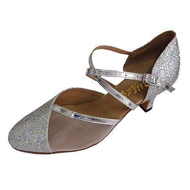 XIAMUO Angepasste Frauen Modern Dance Schuhe angepasste Ferse funkelnden Glitter Ballsaal Schuhe, Silber, US 6 / EU 36/UK4/CN 36