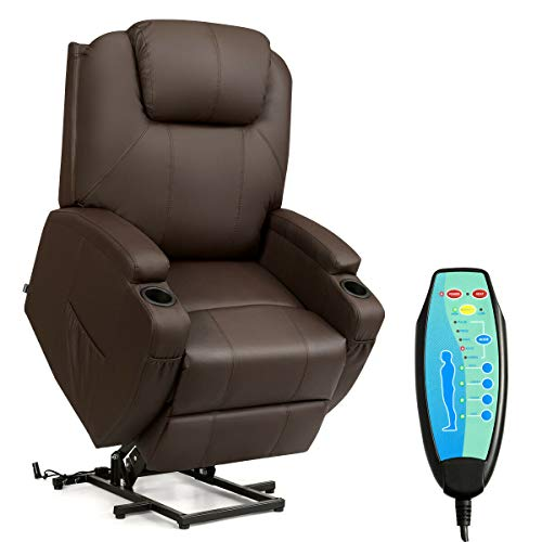TANGKULA Massage Recliner, Deluxe Ergonomic Adjustable Design PU Leather Heated Vibrating, with 2 Cup Holders, Side Pouch, Remote Control, for Living Room Home Theater, Recliner Chair Seat (Coffee)