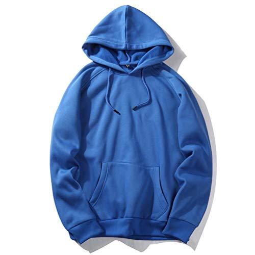 con casual Fashion abbigliamento Top Camicetta Adeshop camicetta Uomo cappuccio felpe sciolto autunno Top Sportswear puro stampa 1 blu Felpe dimensioni manica colore grandi con lunga XxqRxA