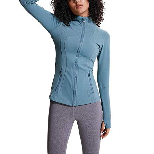 Women Running Yoga Jacket Stretchy Performance Full Zip Workout Coat with Thumb Holes
