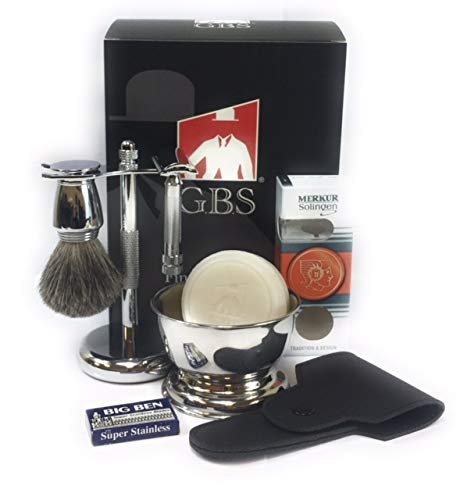 GBS Men's Shaving Set - Merkur 34001 (34C HD) Double Edge Safety Razor, Pure Badger Bristle Hair Brush, Razor & Stand, Shaving Bowl,Soap, Leather Case + 10 Blades For The - Set Bristle Shaving