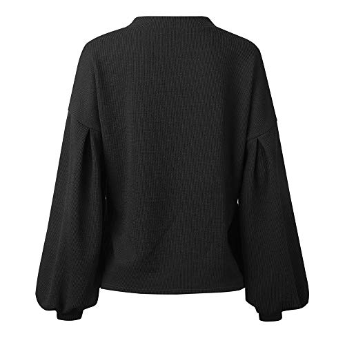 Neck Long Sleeve Knitted Solid Tops Fashion Loosen Sweater Round Blouse DOLDOA Womens Lantern Black Warm UxHYEw