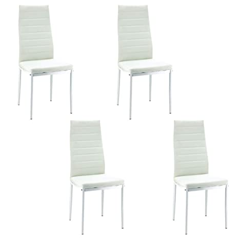Pleasant Birtech Dining Kitchen Chair Dining Chairs Set Of 4 White High Back Modern Faux Leather Chairs With Steel Frame For Kitchen Room Furniture Ibusinesslaw Wood Chair Design Ideas Ibusinesslaworg