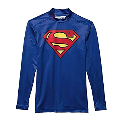 aab50727 Under Armour Kids Alter Ego Superman ColdGear Fitted Mock, Royal/Red, Small