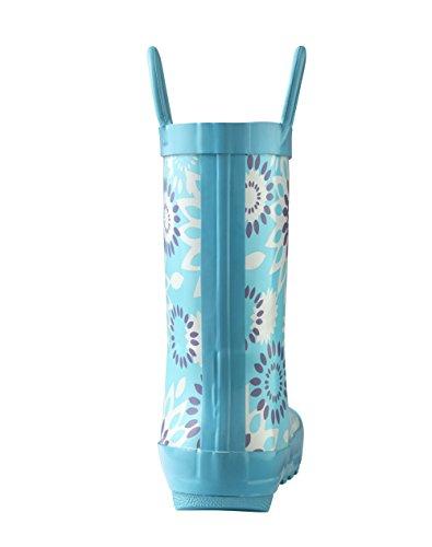 Oakiwear Kids Waterproof Rubber Rain Boots with Easy-on Handles Frozen Bursts 0rfo4rQ6R