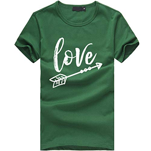 Sanyyanlsy Women's Love and Arrow Letter Short-Sleeved T-Shirt Tank Tops Plus Size O-Neck Blouse Solid Color Shirt Vest Green