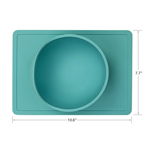 Scooper Bowl with Silicone Placemat Suction Base - Non-Skid - No Spill - Food Grade Silicone -...