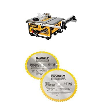Dewalt Dw745 10 Inch Compact Job Site Table Saw With 20 Inch Max Rip Capacity 120v W Dw3106p5 60 Tooth Crosscutting And 32 Tooth General Purpose