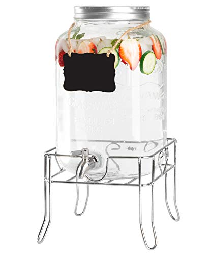 Outdoor Glass Beverage Dispenser with Sturdy Metal Base & Stainless Steel Spigot -2 Gallon Drink Dispenser for Lemonade, Tea, Cold Water & More (Large Dispenser Glass Beverage)