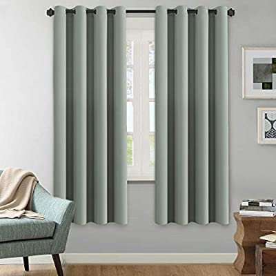 """H.VERSAILTEX Winter Season Thermal Insulated Nickel Grommet Blackout Curtains/Draperies for Bedroom/Living Room - 2 Panels Set - 52x72 Inch - Solid Sage Pattern - STANDARD SIZE: Sold per set including 2 panels. Each panel measures: 52""""W x 72""""L Set measures: 104""""W x 72""""L. Each panel has 8 elegant metal grommets, inner diameter of grommet is 1.6"""", fit well with standard or decorative curtain rods NATURAL BLACKOUT: These magic solid curtain panels can blocks out 95% sun light and prevent 100% UV ray, authoritative lab test shows that the curtains are vinyl free and environment friendly, safe and green to kids and nursery MULTIPLE FUNCTIONS: These soft and durable curtains are made by innovative technology durable yarn, high performance on room darkening, thermal insulated, noise reducing, energy saving / efficiency and privacy protection - living-room-soft-furnishings, living-room, draperies-curtains-shades - 41FCvcW9YUL. SS400  -"""
