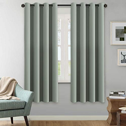 H.VERSAILTEX Winter Season Thermal Insulated Nickel Grommet Blackout Curtains/Draperies for Bedroom/Living Room - 2 Panels Set - 52x72 Inch - Solid Sage Pattern