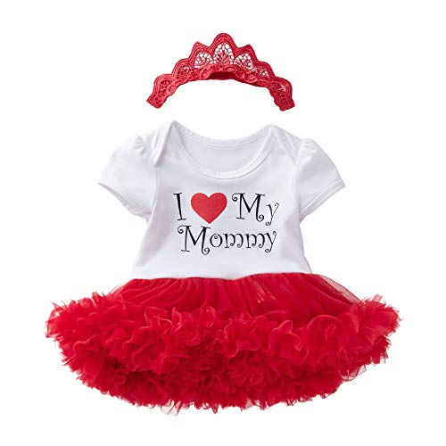 - WINZIK 2PCS Mother's Day Newborn Baby Girls Outfits Costume Short Sleeve Tutu Romper Dress with Hairband Clothes Set (12-24 Months, I Love My Mommy)