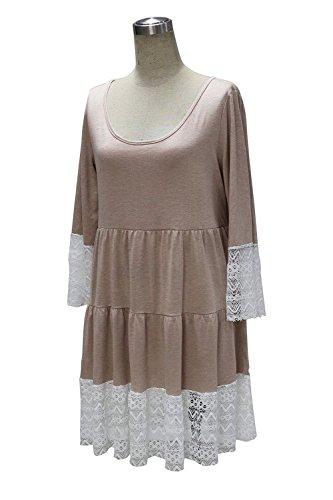 Flare Sleeve Women's Splice Kahki Tunic Loose Lace Doris Apparel Bohemian Dress qwa77f