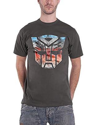 Transformers T Shirt Distressed Autobot Shield Official Mens Dark Grey