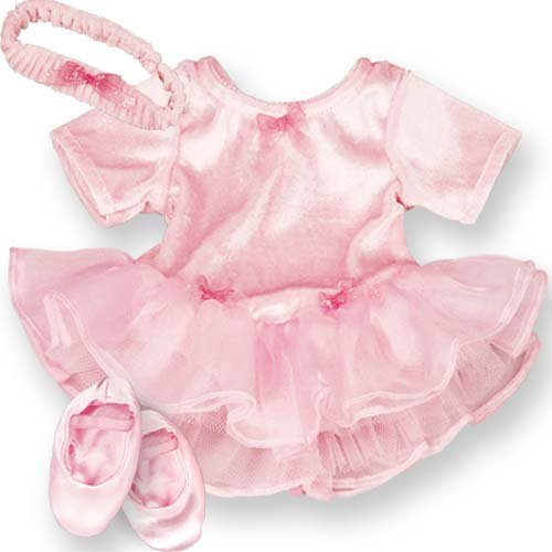 15 Inch Baby Doll Pink Ballet 3 Pc. Doll Clothes Outfit by Sophia's, Fits 15 Inch American Girl Bitty Baby Dolls & More! Soft Velour, Chiffon & Tulle Pink Baby Doll Ballet Dress Set (Bitty Baby Cloth)
