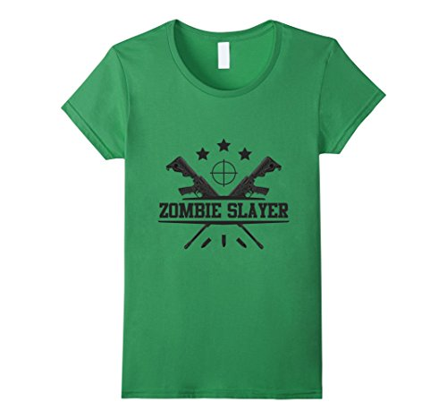 Womens Zombie Slayer T-Shirt | Spooky Halloween Dead Hunter Costume XL Grass