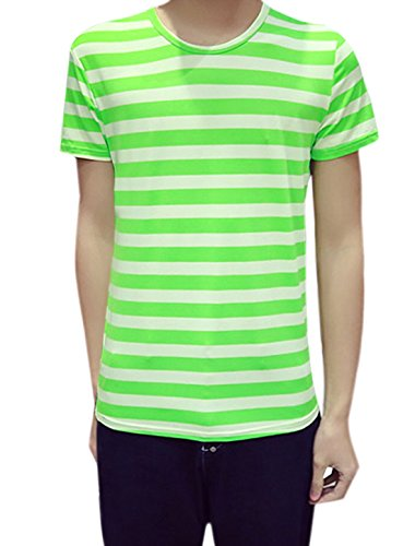 [uxcell Men Short Sleeves Crew Neck Pullover Stripes Tee L Green] (Pugsley Addams Costume)