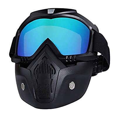 Motorcycle Helmet Riding Goggles Glasses With Removable Face Mask,Detachable Fog-proof Warm Goggles Mouth Filter Adjustable Non-slip Strap Vintage Bullet Fight Motocross (colorful): Automotive