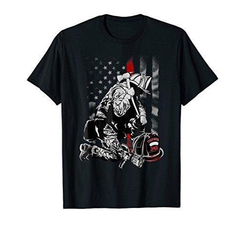 Tee Fireman Shirts (Fireman American Flag Shirt Thin Red Line Firefighter Shirt)