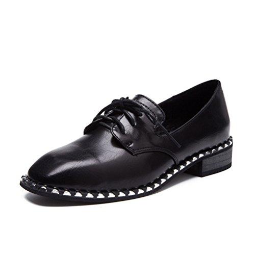 [オス スメミセ] カジュアルシューズ レディース 茶色 黒 フラット プレーントゥ 甲ストラップ 外羽根 ドレス 通勤 通学 入学式 卒業式 学生靴
