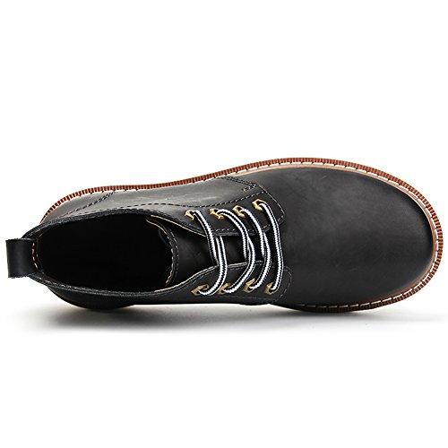 Rismart Mens Autunno-inverno Comfort Lace-up Impermeabile Ankle Martin Stivali Big Size Nero Sn16602 Us8