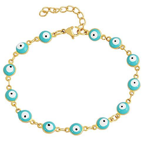 18k Gold Evil Eye - EDFORCE Stainless Steel Women's Charm Bracelet Green | Gold Enamel Evil Eye Protection Link Chain Adjustable, 8