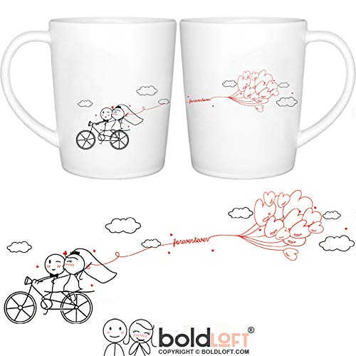 BOLDLOFT Forever & Ever His & Hers Wedding Coffee Mugs- Wedding Gifts for Couple, Wedding Gifts for Bride and Groom, Wedding Registry Gift Idea, Bridal Shower Gifts, Engagement Gifts for Couples