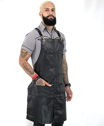 (Under NY Sky Cross-Back Jet Black Apron - Coated Denim with Leather Reinforcement and Split-Leg - Adjustable for Men and Women - Pro Barber, Tattoo, Hair Stylist, Barista, Bartender, Server Aprons )