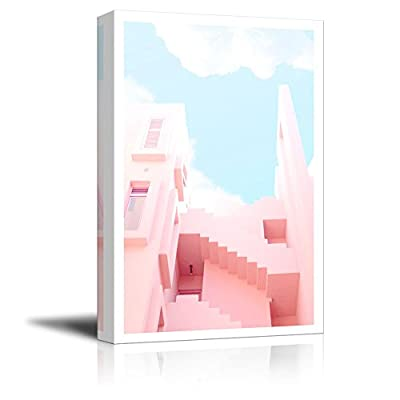 Canvas Wall Art - Drawing of Fresh Pink Color Tone Building with Sunny Sky - Giclee Print Gallery Wrap Modern Home Art Ready to Hang - 12