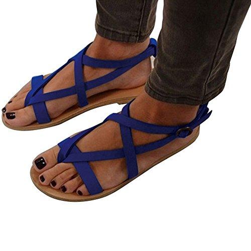 Minetom® Women's Sandals Fashion Ankle Strap Flat Sandals Casual Summer Elastic Rome Platform Shoes Blue Wqq3kGBf