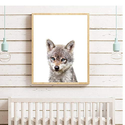 XIXISA Baby Woodland Animals Poster Nursery Wall Art Canvas Prints Baby Wolf Forest Baby Animal Painting Picture Kids Room Wall Decor 5070cm No Frame ()