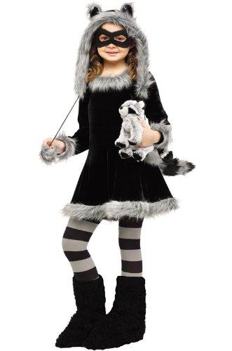 Fun World Sweet Raccoon Costume, Large 12 - 14, Black -
