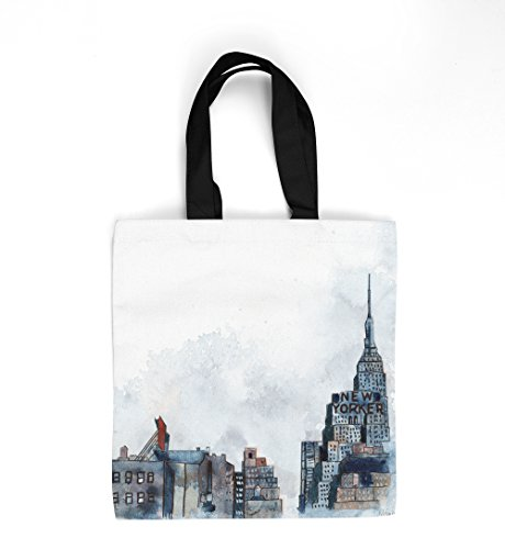 (New Yorker Artist custom designer tote bag, market bag, double sided print with black liner interior and cotton web handles (16 x 16